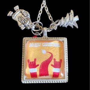 Merry Christmas Rock N Roll Santa Necklace